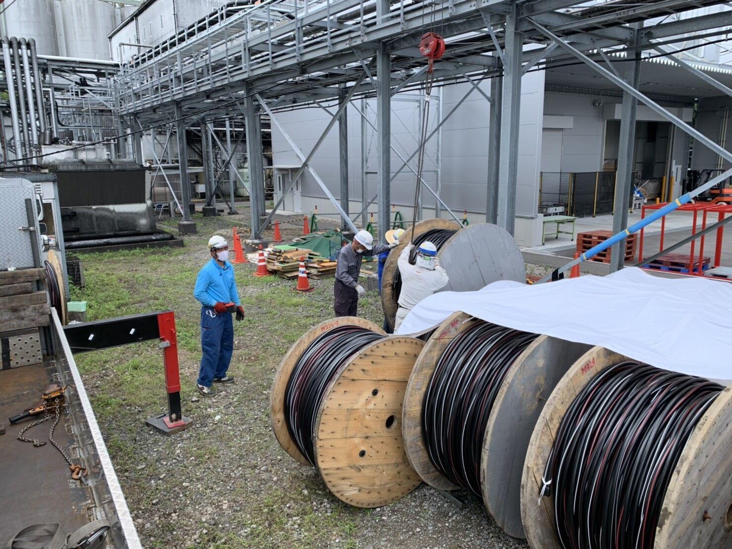 長物幹線ケーブル配線工事開始 佐倉市の電気設備工事 神門電設です